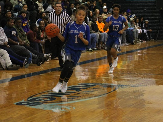 Red River's Lakeya Lewis was one of three Lady Bulldogs scoring 16 points in a win over Loyola on Tuesday.