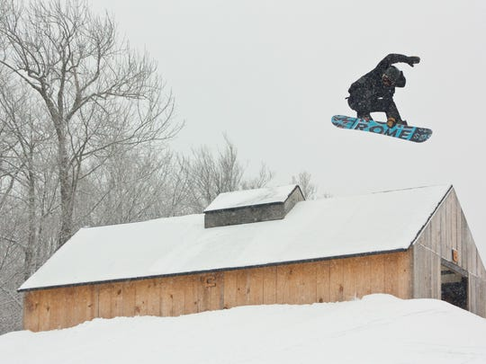 Mount Snow's Carinthia Parks offers more than 100 continuous acres of dedicated terrain parks containing custom-made features like the Sugar Shack, pictured above.