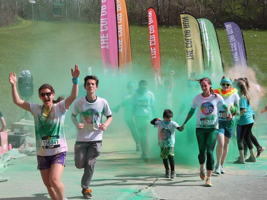 Hundreds of runners participated May 8, 2016, in the third annual Color Run at SUNY Broome Community College.
