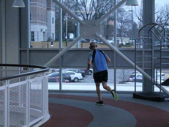 An indoor track at the LIFT Wellness Center offers a good place to run in cold weather.