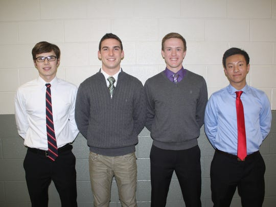 Plymouth's varsity boys swimming and diving team is led by co-captains (from left) Garrett Beauprez, Ryan Heinze, Brandon Burger and Ben Yang.