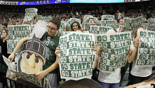 Michigan State Spartans student section performs prior to a game against the Iowa Hawkeyes at the Jack Breslin Student Events Center.