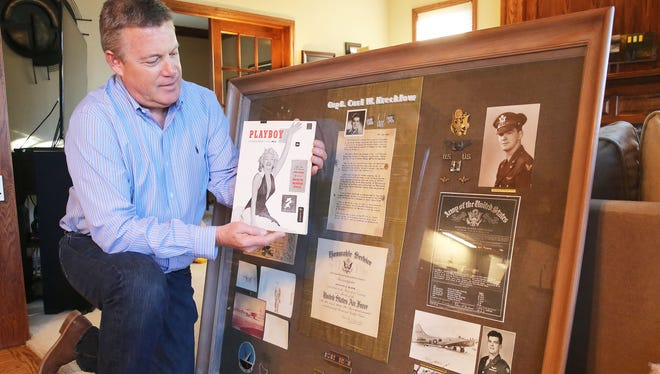 Carl Veenendaal shows off his copy of the first Playboy from 1953 as well as artifacts from his uncle, who originally bought the magazine with Marilyn Monroe on the cover. In 1956, the uncle, Carl Krecklow, died in a military training plane crash.