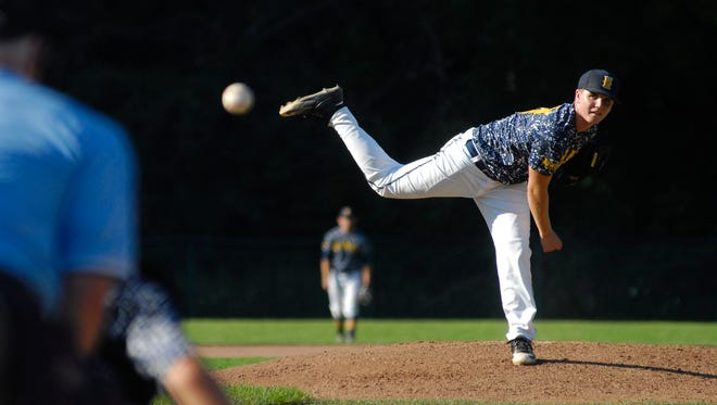 Port Huron Northern pitcher Jared Steinhauer tosses in a pitch Monday, July 25, during Connie Mack baseball at Sanborn Park.