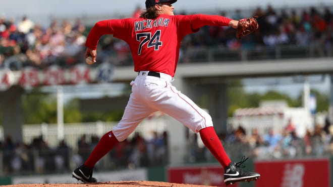 Right-hander Mike Kickham, shown pitching in February during spring training, threw two simulated innings Sunday in Pawtucket.
