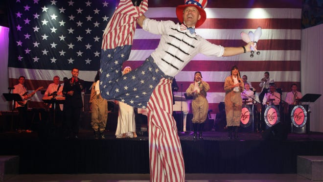 """""""Uncle Sam"""" entertaining the crowd"""