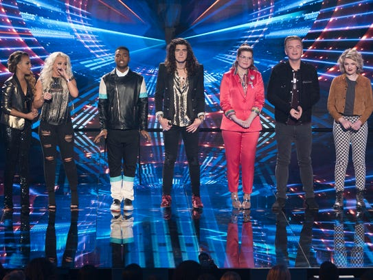 """The top seven finalists compete on """"American Idol."""""""