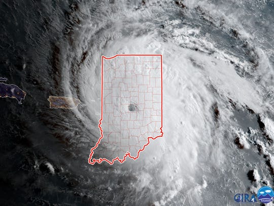 Here is how Hurricane Irma compares in size to the state of Indiana