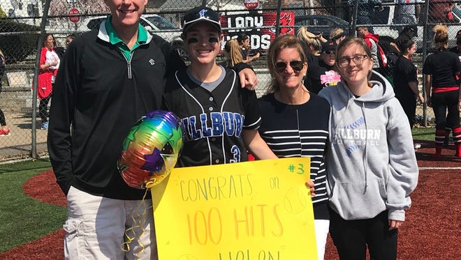 Millburn's Helen Casey became the second Miller to reach 100 hits this season with a hit at Kearny.