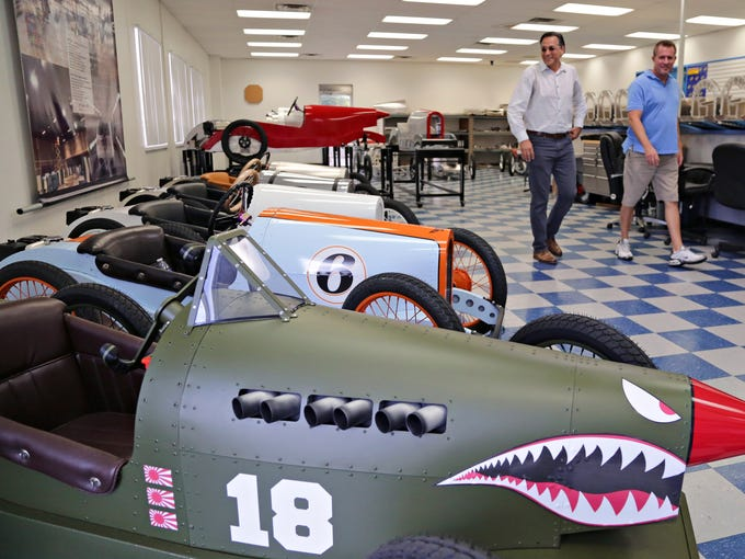 Bret Rowe and Ron Kotloff of the Vintage Kart Co. walk