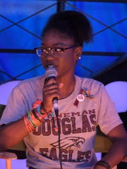 Parkland shooting survivor Aalayah Fastmond speaks at the 2018 Bonnaroo Music and Arts Festival.
