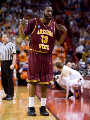 Arizona State James Harden gestures to the bench during the second round game against Syracuse of the NCAA men's basketball championship tournament at the American Airlines Arena in Miami on Sunday, March 22, 2009. Harden will have his jersey number retired at ASU's game on Wednesday night.