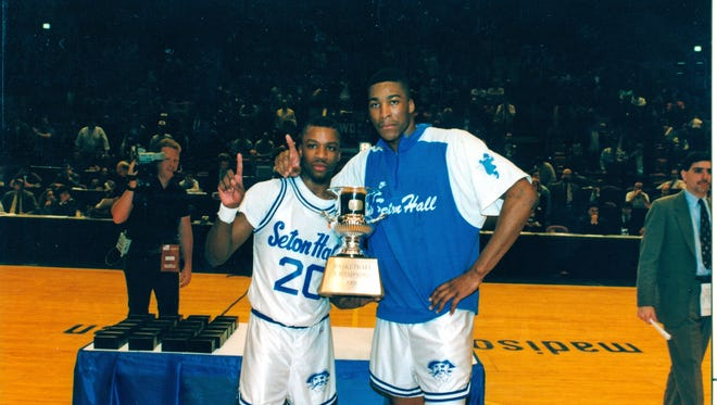 Oliver Taylor and Anthony Avent celebrate Seton Hall's 1991 Big East Tournament title