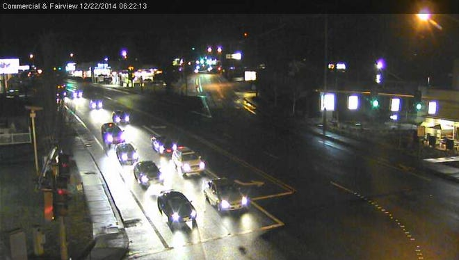 The image shows traffic at Commercial and Fairview streets in Salem.