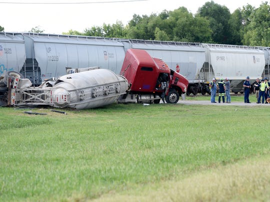 A southbound Union Pacific train hit an 18-wheeler