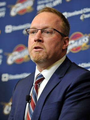 Cleveland Cavaliers general manager David Griffin talks to the media at Cleveland Clinic Courts in Independence, Ohio, on Aug. 26, 2014.