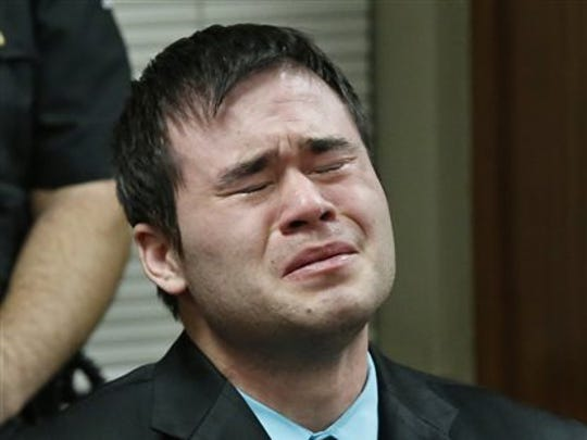 Daniel Holtzclaw cries as the verdicts are read in
