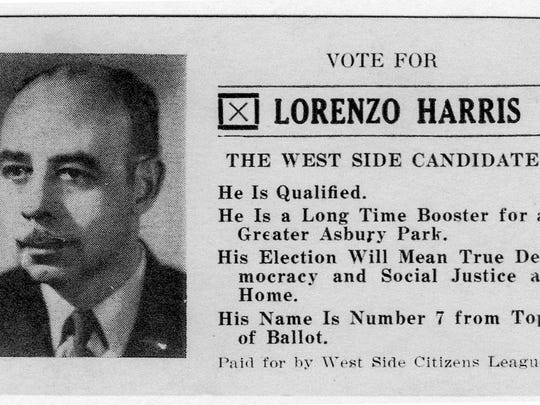 Lorenzo Harris ran for the Asbury Park city commission in 1945.  Although he lost that election, his son Dr. Lorenzo Harris, Jr. (Kay's father) eventually became the city's first black council member.