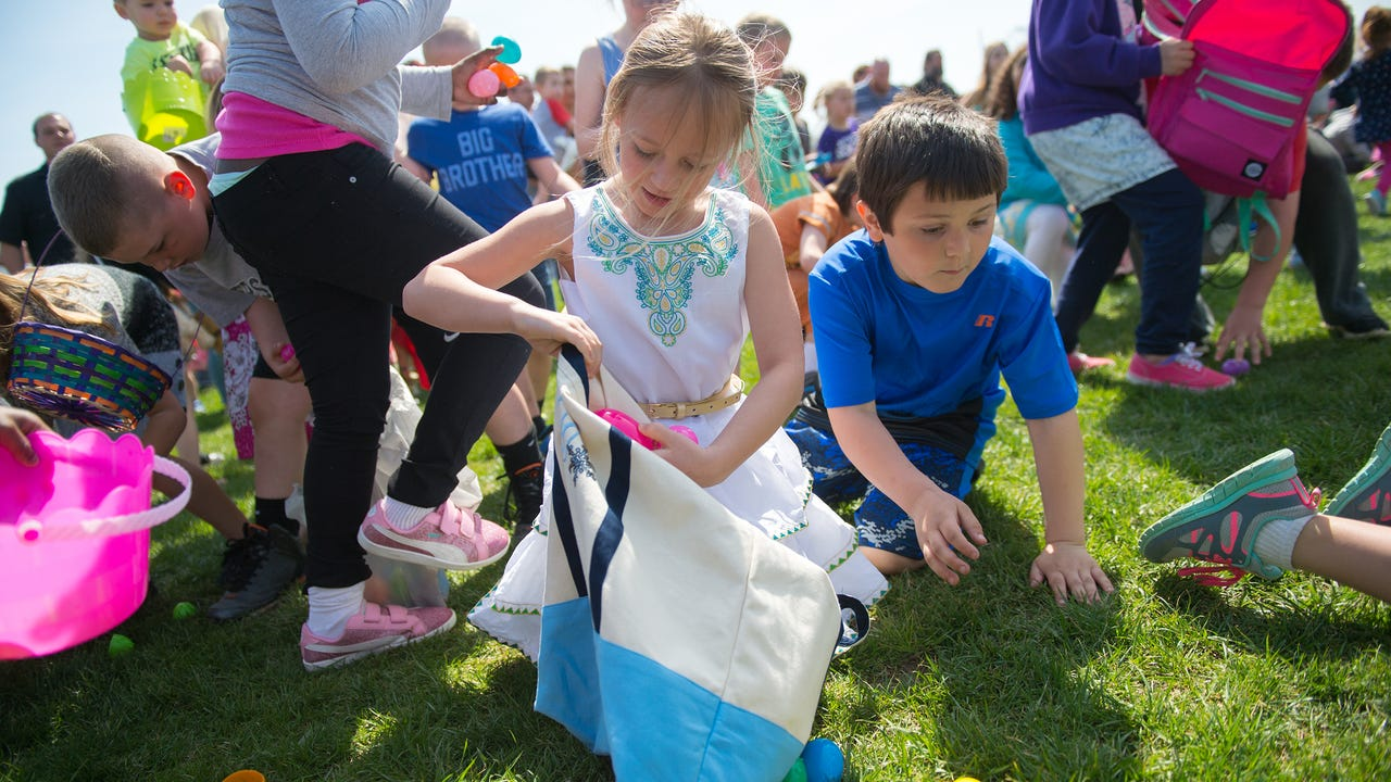 Eggesplosion was hosted in Greencastle, Pa. on Saturday, April 15, 2017. Thousands of Easter eggs were dropped from a helicopter for an Easter egg hunt.