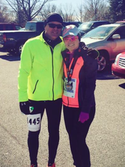 Shippensburg's Brian and Laura Caudill each broke the two hour mark at last weekend's Chambersburg Half Marathon.