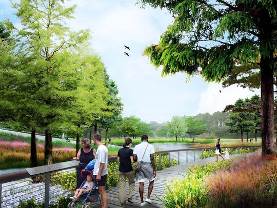 Phase 1 of construction at Moncus Park in Lafayette will include a wetland area, illustrated here. Lafayette Central Park Inc. Phase 1 of construction at Moncus Park in Lafayette will include a wetland area, illustrated here.