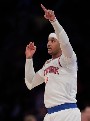 """Knicks' Carmelo Anthony spoke with the media about the criticism his former NBA coach, George Karl, has in a new book to be released in January, 2017, """"Furious George."""" Anthony joked with reporters, saying, """"When I write my book later…"""" he would call it, """"Stay Melo. Not Furious."""""""
