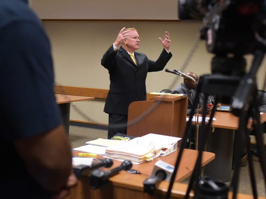 Defense Attorney Frank J. Manley talks about motions he has filed for his client Mateen Cleaves in a court room Friday, July 29, 2016, at the Genesee District Court in downtown Flint, Mich. Cleaves, a former Michigan State basketball star, is currently facing a sexual assault charge. (Mark Felix/The Flint Journal-MLive.com via AP)