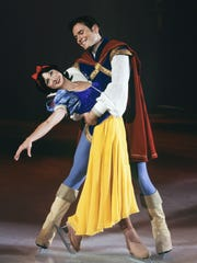 """Snow White and the Prince from Disney On Ice's """"Dare to Dream"""" at The Palace of Auburn Hills."""