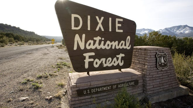 The sun rises over the sign indicating the border of the Dixie National Forest on the road into Pine Valley.