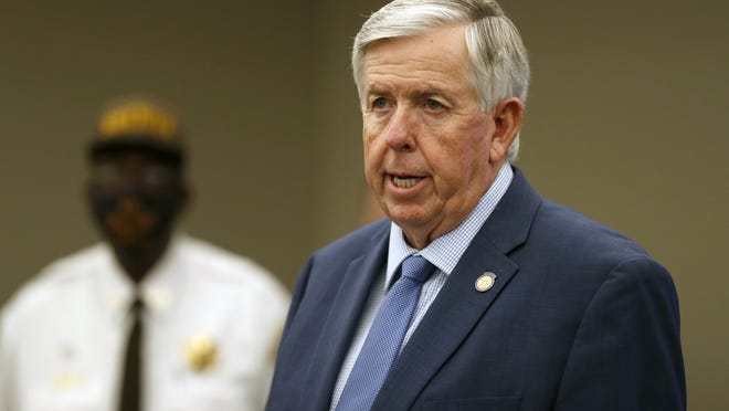 In this Aug. 6 file photo, Missouri Gov. Mike Parson speaks during a news conference in St. Louis.