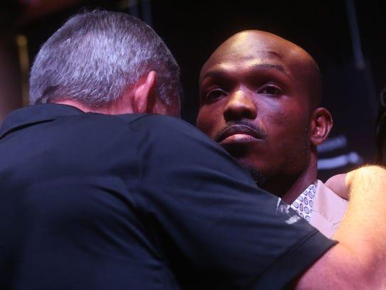 WBO Welterweight Champion speaks to his trainer, Teddy