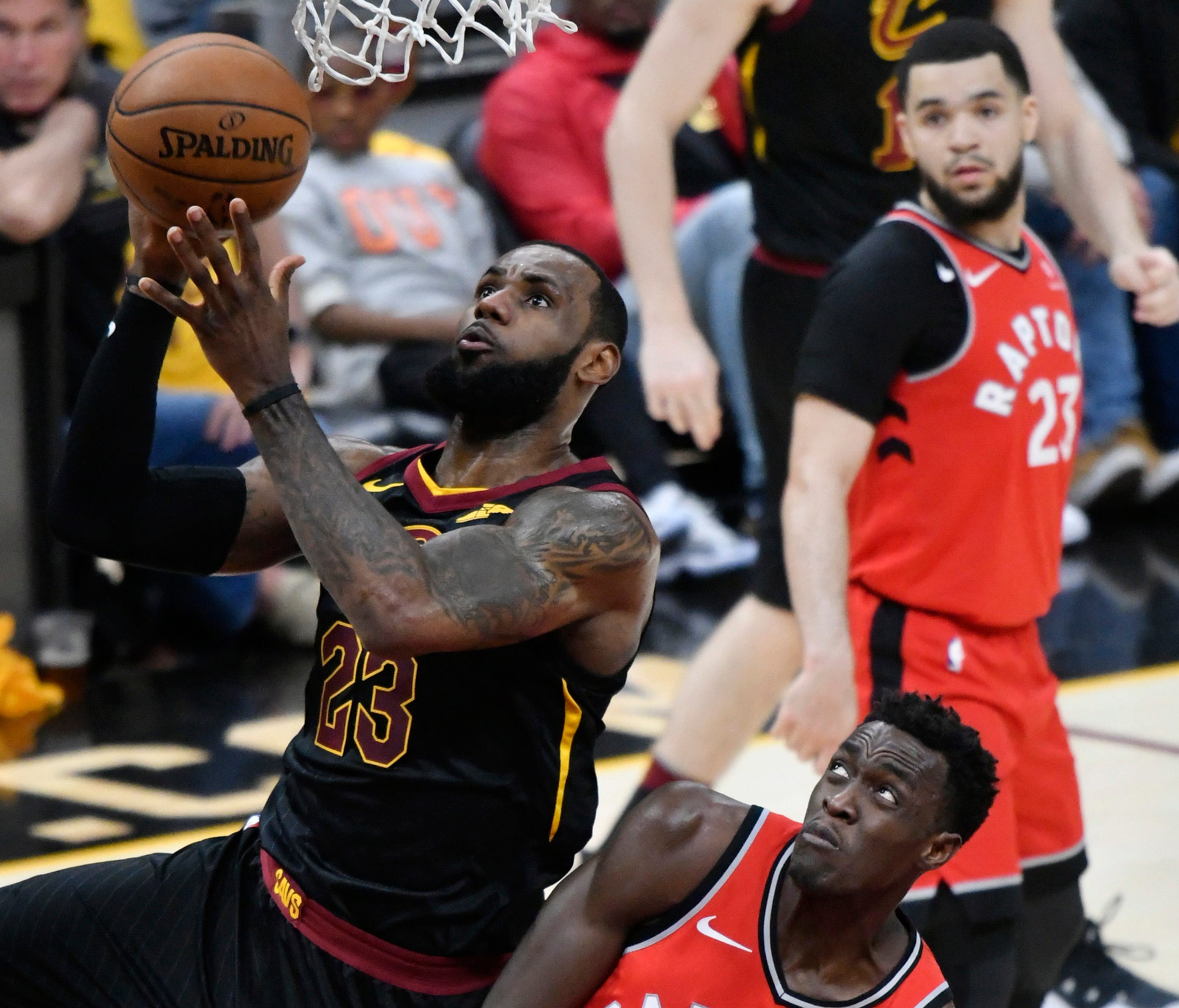 Cleveland Cavaliers forward LeBron James (23) drives against Toronto Raptors forward Pascal Siakam (43) in the second quarter in game four of the second round of the 2018 NBA Playoffs at Quicken Loans Arena.