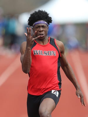 Wilson Magnet's Kelly Brown wins the 100-meter dash with a time of 11.00 at the His and Hers meet in Penfield.