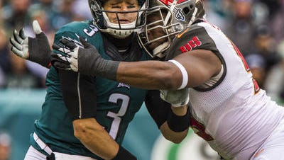 Eagles quarterback Mark Sanchez threw three interceptions Sunday in the Eagles' 45-17 loss.