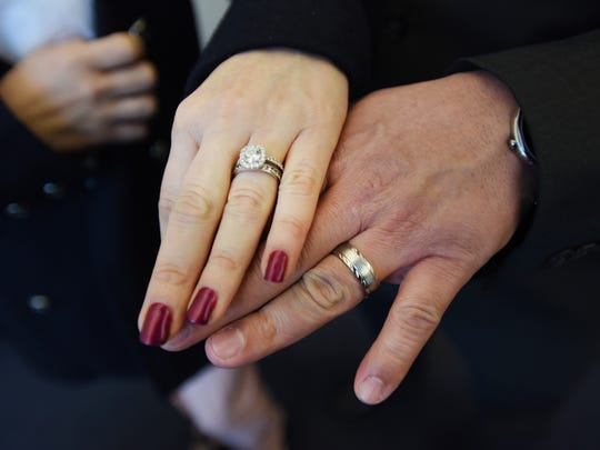 Close up of the wedding rings of Victor Sosa (age 37) and Brenda Aguilar (age 38) of Little Ferry, following their marriage ceremony performed by Bergen County Clerk John S. Hogan at his office at the Bergen County Administrative Buildings in Hackensack on 02/14/18.