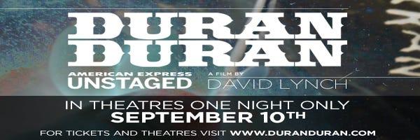 9/10: David Lynch's Duran Duran film playing Film Bar
