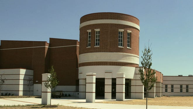An exterior of the front of Jackson Liberty High School.
