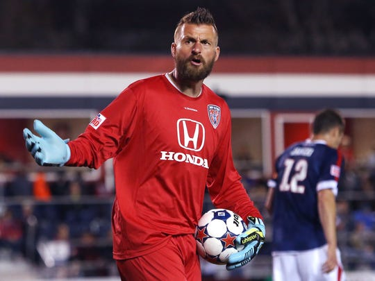 Indy Eleven goalie Kristian Nicht shows his frustration in the closing minute as the team tries to break a 1-1 tie with the New York Cosmos at IUPUI's Carroll Stadium on April 11.