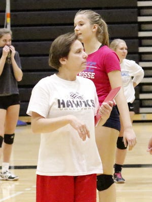 Corning head coach Irene Furness coaches her team during practice in 2016 at Corning-Painted Post High School.