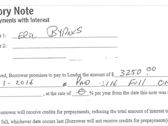 Promissory note for Eric Byrnes