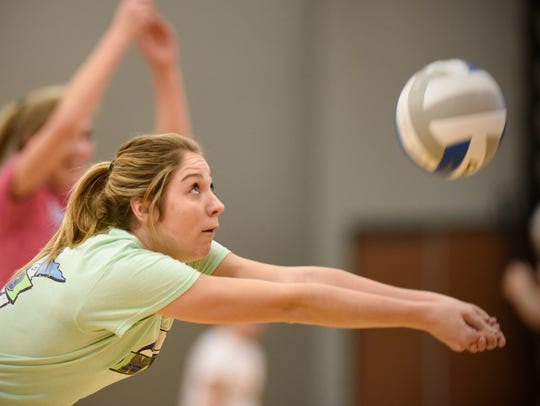 Morgan Holthaus concentrates on the ball during volleyball