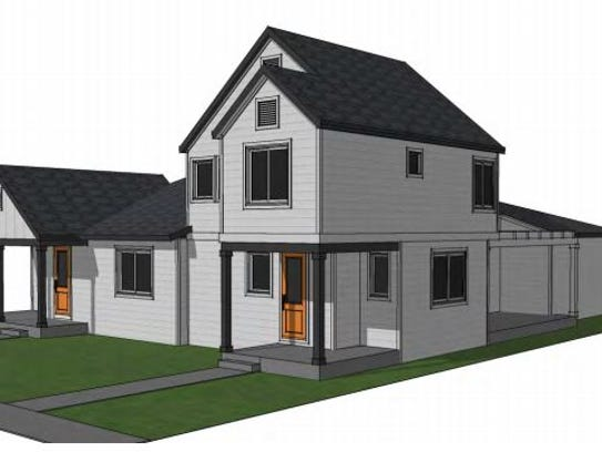A rendering shows a paired home as part of the proposed