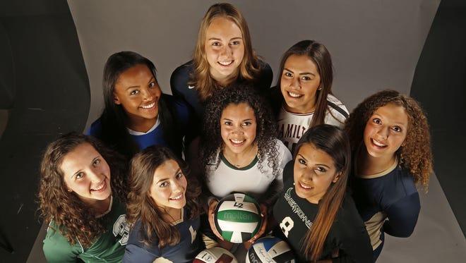 Azcentral's All-Arizona high school volleyball team: (from back left) Katie Oleksak, Khalia Lanier, Rachael Kramer, Preslie Anderson, Olivia Fairchild, (from front left) Kendall Glover, Justine Spann, Julisa Carrizosa.