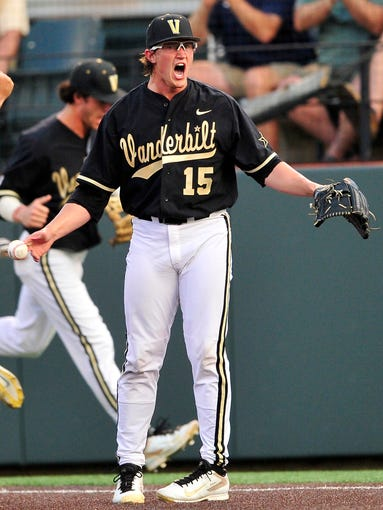 Vanderbilt pitcher Carson Fulmer reacts after forcing out an Oregon runner at first during the NCAA Regional at Hawkins Field. Vanderbilt won 7-2.