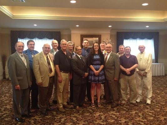 Officers, from left, are Donald Door, tail twister; Fred Baber, chaplain; Bob Gotwalt, treasurer; John Zinn, board member; Todd Boller, second vice president; Tom Staub, Lion tamer; Dwain Smith, first vice president; David Husk, board member; Judith Stewart, president; Jack Stewart, past president; Ken Zinn, third vice president; Gerry DeGroft, secretary; Brian Shea, board member; Vance Stabley, board member.