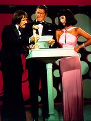 """Sonny Bono, left, with Ronald Regan and Cher, on the """"Sonny and Cher Comedy Hour"""" on CBS."""
