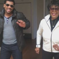 Russell Wilson and his grandma showed their moves in a Christmas video.