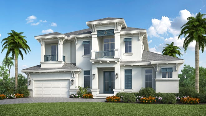 An exterior rendering of Stock Custom Homes new residence at 617 Hernando Drive on Marco Island.