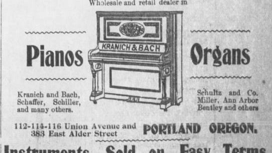 An advertisement for C.A. Whale Piano and Organ store in Portland.