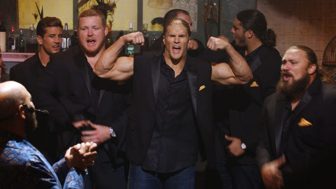 "Jordan Rodgers and Green Bay Packers players T.J. Lang, Clay Matthews, Don Barclay, David Bakhtiari and Josh Sitton compete against the Barden Bellas in ""Pitch Perfect 2."""